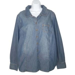 Boden 18 Denim Shirt Peter Pan Collar Jean Cotton